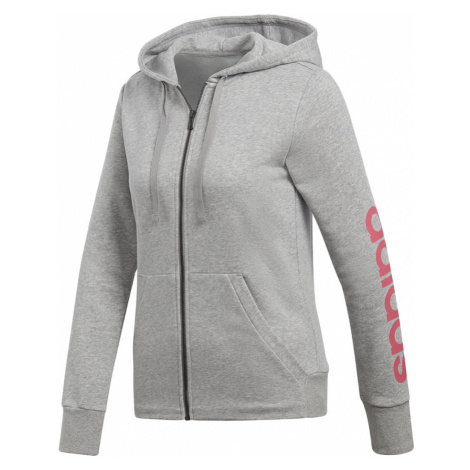 Dámska sivá mikina Essentials Linear Full Zip Hoodie Adidas