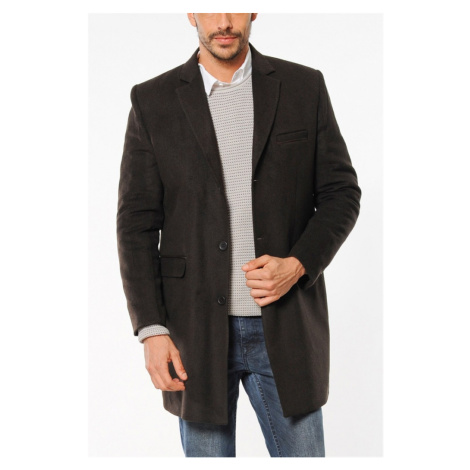 SICAK KIŞ MODASI PLT8204 DEWBERRY COAT-PATTERNED COFFEE