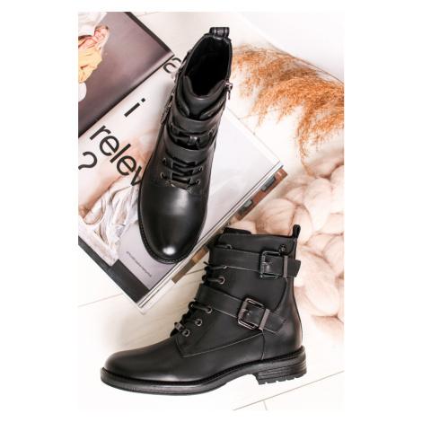 Čierne šnurovacie členkové topánky 34482 Xti