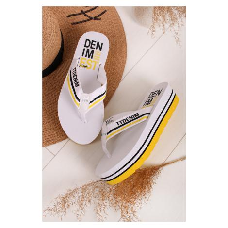 Bielo-žlté platformové šľapky 8095701 Tom Tailor