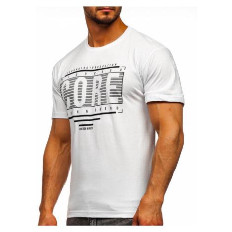 Biele pánske tričko s potlačou Bolf SS11071