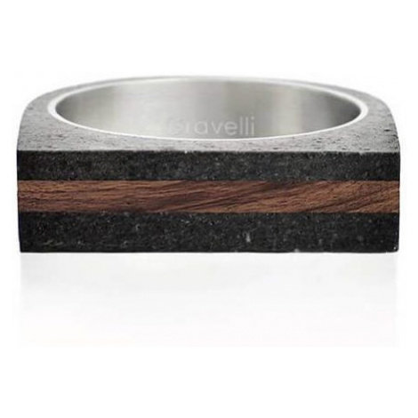 Gravelli Betónový prsteň antracitový Stamp Wood GJRUWOA004 mm