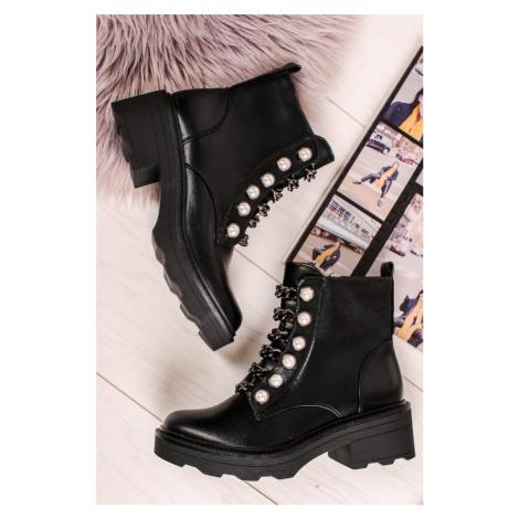 Čierne členkové topánky Wenda Ideal