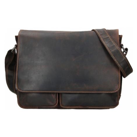 Pánska kožená taška cez rameno Greenwood Josh - tmavo hnedá