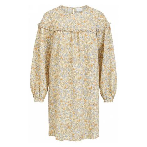 VILA Šaty 'Sanina'  sivá / biela / žltá / béžová / svetlomodrá