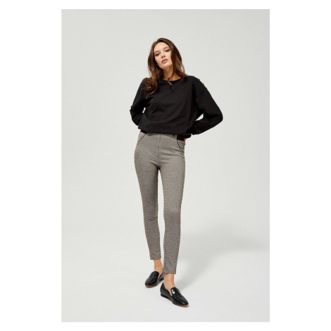 Leggings with a wide elastic band - brown Moodo