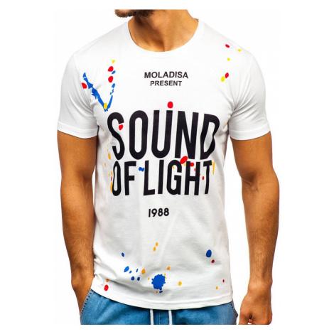 Biele pánske tričko s potlačou BOLF 1241