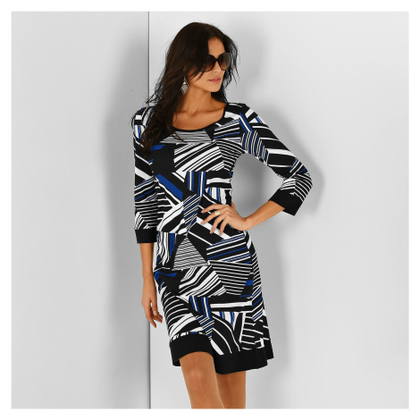 Blancheporte Šaty s grafickým vzorom čierna/modrá