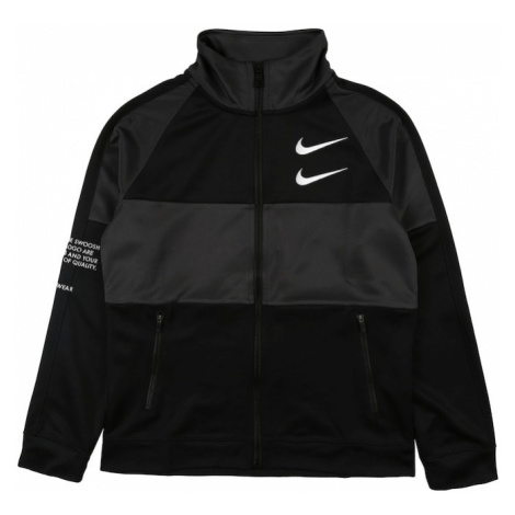 Nike Sportswear Tepláková bunda 'SWOOSH'  antracitová / čierna / biela