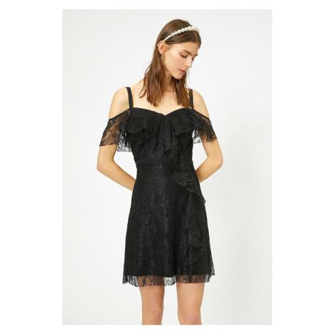 Koton Women's Black Lace Detail Dress