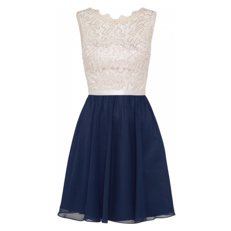 Laona Kokteilové šaty  béžová / námornícka modrá