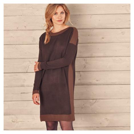 Blancheporte Pletené šaty s lodičkovým výstrihom čokoládová