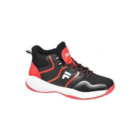 Čierno-červené členkové tenisky Fila