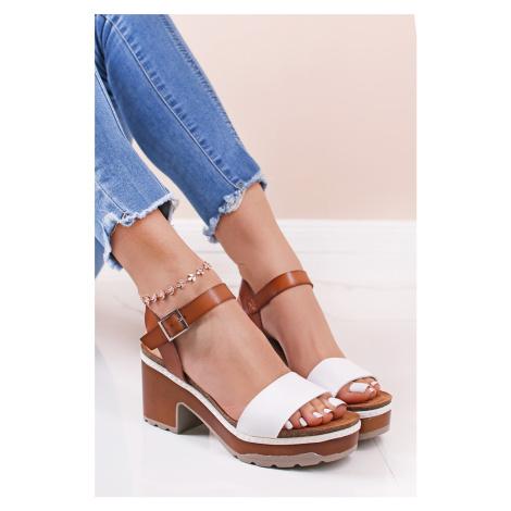 Bielo-hnedé sandále na hrubom podpätku 72707 Refresh
