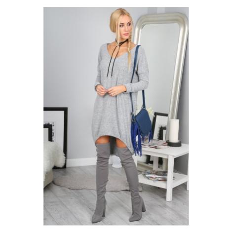 Štýlové sivé asymetrické šaty FASARDI