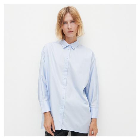 Reserved - Hladká oversize košeľa - Modrá