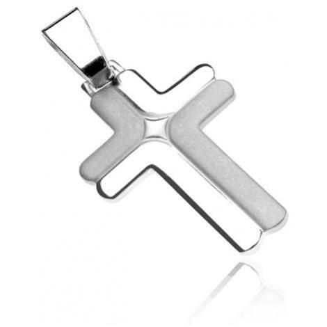 Strieborný prívesok, kríž 925 - dvojité matné a lesklé L