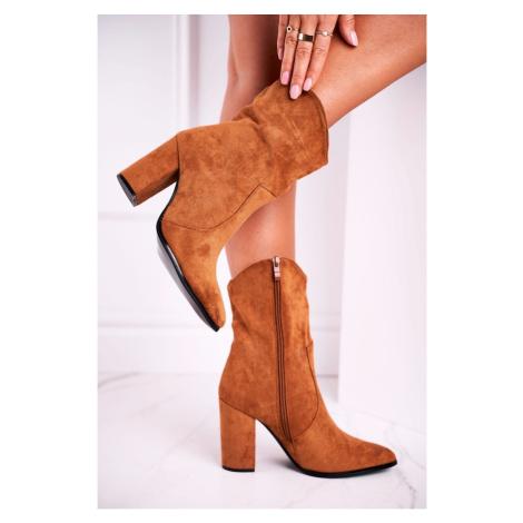 Women's Boots On High Heel Eco-Suede Camel Ecstasy