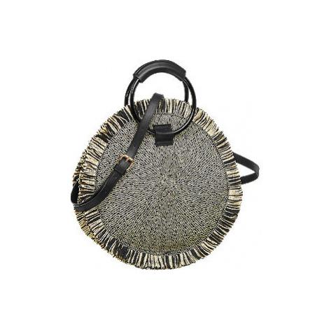 Čierno-béžová slamená kabelka Catwalk