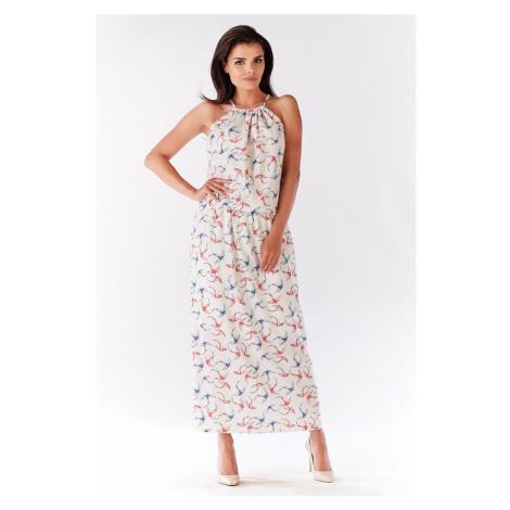Dlhé smotanové šaty s vtáčikmi A184 Awama