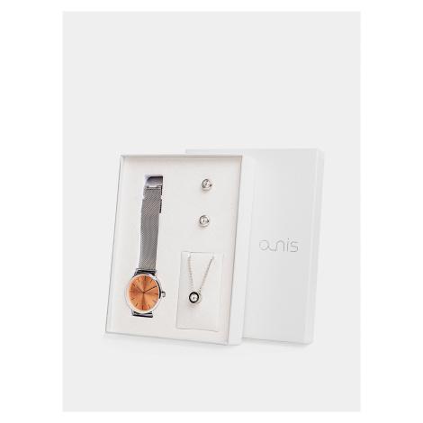 Sada dámskych hodiniek, náušnic a retiazky v striebornej farbe a-nis