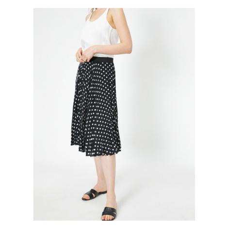 Koton Polka Dot Ruffle Detail Comfortable Fit Midi Skirt