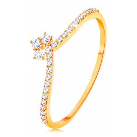 Prsteň v žltom 14K zlate - línie čírych zirkónov na ramenách, ligotavá korunka - Veľkosť: 65 mm