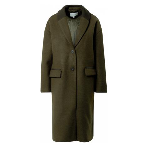VILA Prechodný kabát  tmavozelená