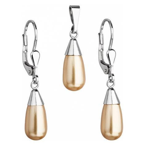 Sada šperkov s perlami Swarovski náušnice a prívesok zlatá perla slza 39119.3