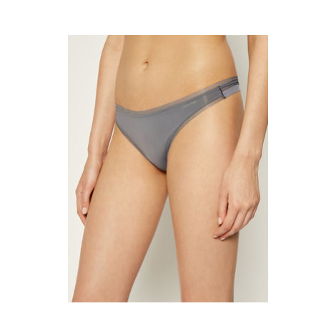 Calvin Klein Underwear Stringové nohavičky Thong 000QF1666E Sivá