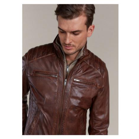 Koňaková kožená bunda s úpletovou vložkou KARA