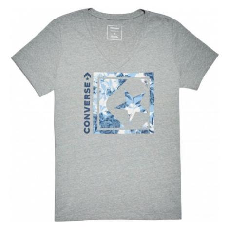 Converse LINEAR FLORAL BOX STAR VNECK TEE sivá - Dámske tričko