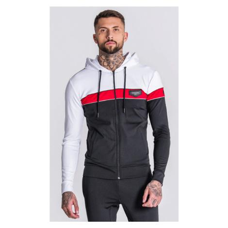 GIANNI KAVANAGH Pánska mikina Gianni Kvanagh Black Asymmetric Block Jacket With Piping Detail