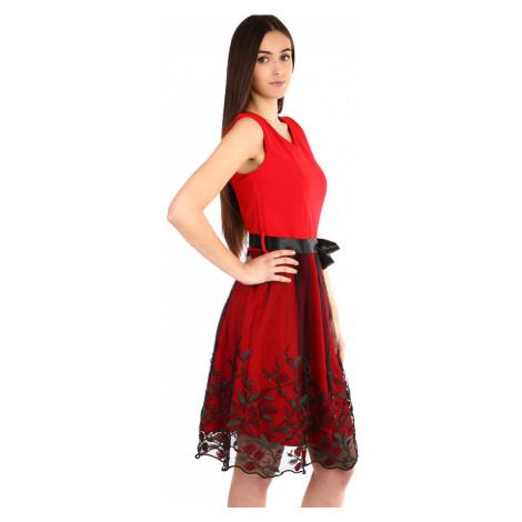 Spoločenské šaty s tylovou vyšívanou sukňou
