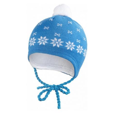 LITTLE ANGEL Čiapka pletená zaväzovacia nórsky vzor Outlast 3, cm modrá