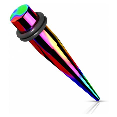 Oceľový 316L expander do ucha - dúhová farba, dve gumičky, PVD úprava - Hrúbka: 8 mm