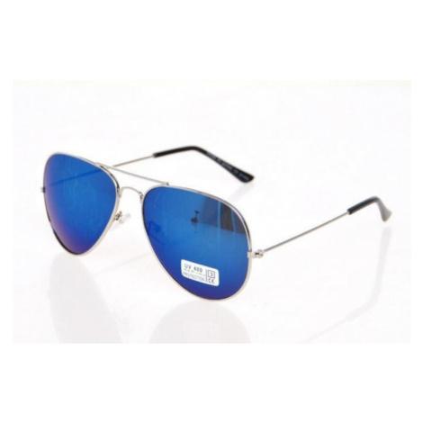 Slnečné okuliare AVIATOR - pilotky strieborný kovový rám BLU