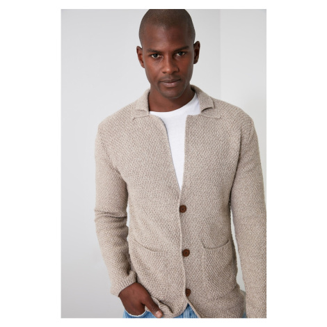 Trendyol Textured Men's Collar Knitwear Cardigan with Ekru Men's Denm pockets
