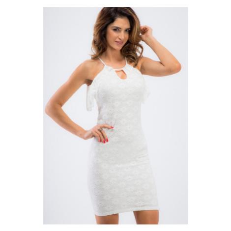 Elegantné, smotanové, mini šaty s volánikmi FASARDI
