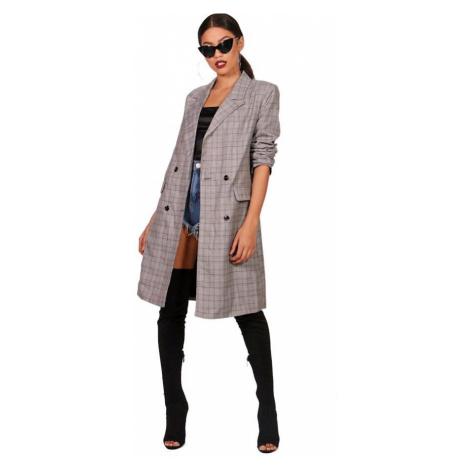 Kockovaný veľký kabát Emma Boohoo