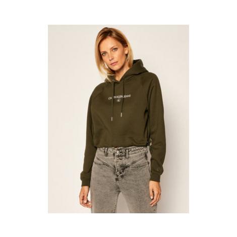 Calvin Klein Jeans Mikina J20J215128 Zelená Regular Fit