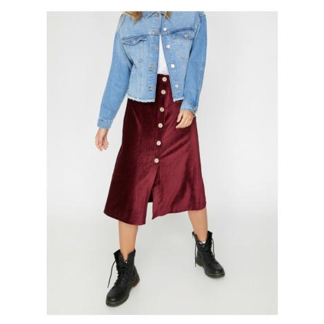 Koton Button Detail Velvet Midi Skirt