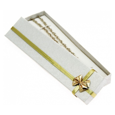 Darčeková krabička - podlhovastá, stuha s mašľou zlatej farby