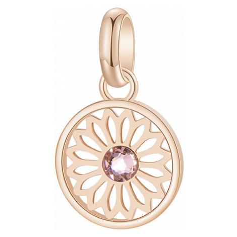 Brosway Ružovo pozlátený oceľový mandala prívesok s kryštálom Très Jolie BTJM268
