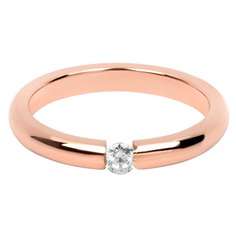 Troli Nežný ružovo pozlátený oceľový prsteň s kryštálom mm