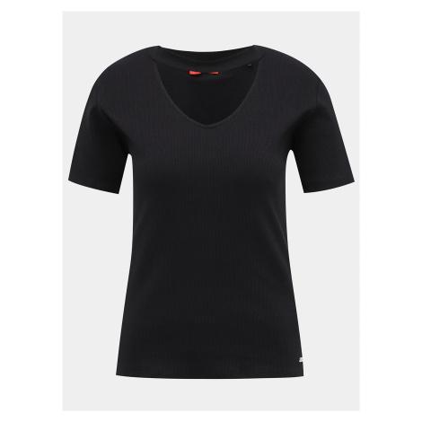 Čierne dámske rebrované tričko Guess