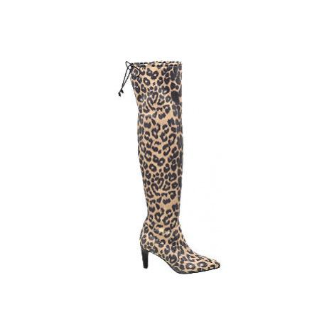 Hnedé čižmy nad kolená so zvieracím vzorom Catwalk