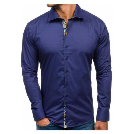 Tmavomodrá pánska elegantná košeľa s dlhými rukávmi 9983 GLO-STORY