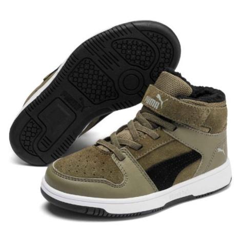 Puma REBOUND LAYUP FUR SD V PS tmavo zelená - Detská voľnočasová obuv