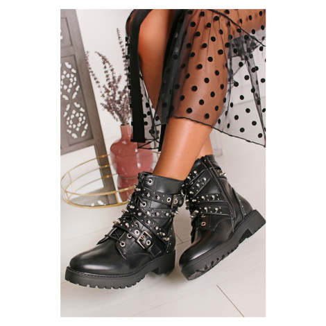 Čierne vybíjané členkové topánky Wilma Bestelle